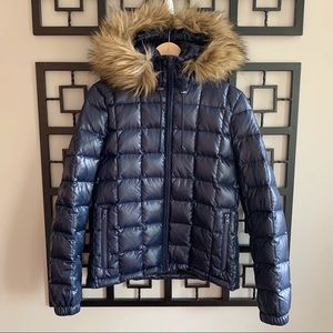 J. Crew Short Quilted Puffer Jacket With Fur Hood